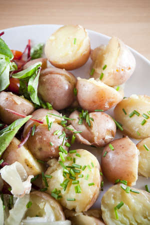 Fresh baby potatoes with herbs