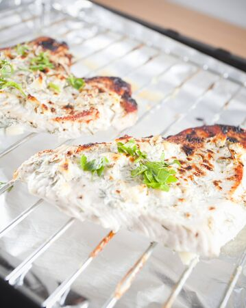 Grilled chicken breast with herbs