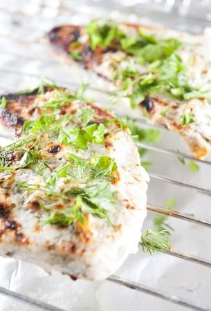Gegrillte Hähnchenbrust mit niedrigem Fettgehalt mit Knoblauch, Joghurt und Kräuter-Diät Ducan Standard-Bild