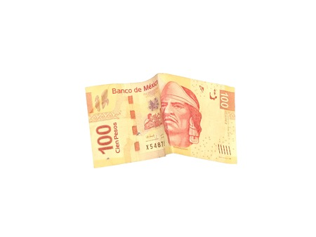 One single mexican peso 100 bill isolated on white background Stock Photo