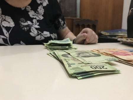 Business owner woman ordering mexican pesos into different piles Banco de Imagens