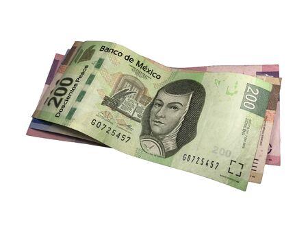 Un mucchio di banconote in peso messicano isolate su sfondo bianco