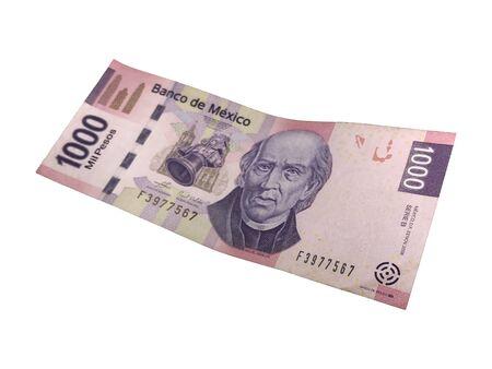 Una singola banconota da 1000 pesos messicani isolata su sfondo bianco Archivio Fotografico