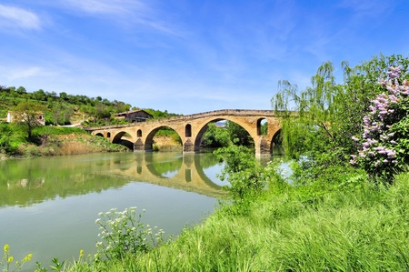xacobeo: Bridge of the Queen over the river Arga - Puente la Reina (Gares), Navarra, Spain. Part of the way of St.James