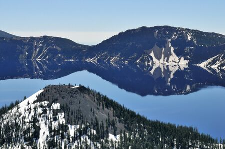 state of oregon: view of the Crater Lake at the state Oregon Stock Photo