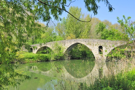 Pamplona (Navarra,Spain) Bridge of Magdalena, river Arga