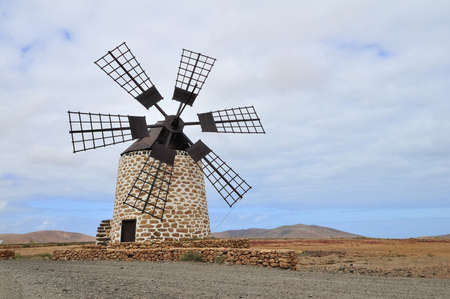 flatland: windmill at the flatland, Lanzarote island