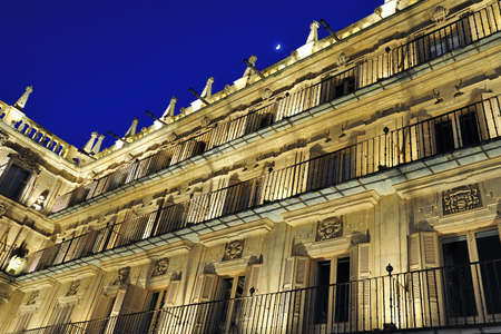 Facade at Plaza Mayor at Salamanca at night (Castile and Leon, Spain)