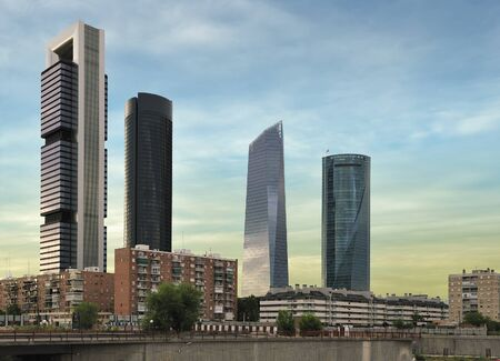 cuatro: four modern skyscrapers (Cuatro Torres) Madrid, Spain Editorial