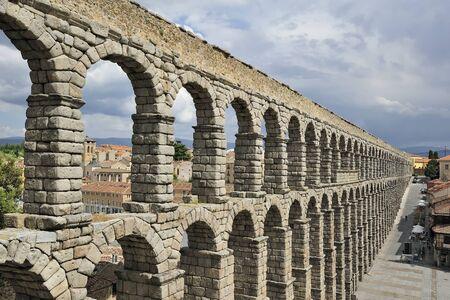 historical architecture: roman aqueduct in Segovia (Spain)