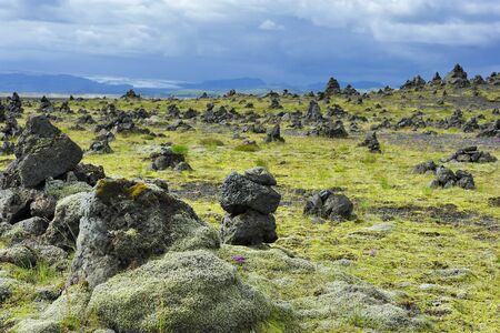cairns: field of stone cairns at Laufscalavarda, Iceland