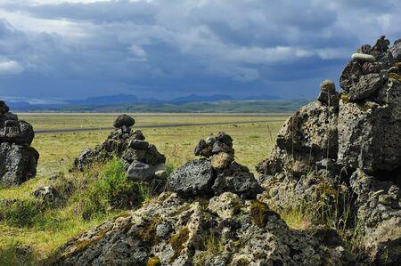 field of stone cairns at Laufscalavarda, Iceland Stock Photo - 12859031