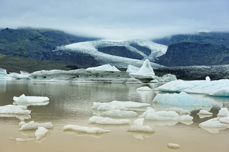 afloat: view of  Fjallsarlon glacier lake, Iceland Stock Photo