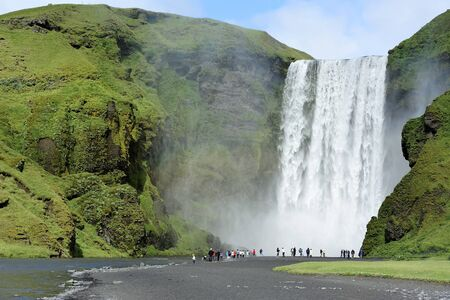 famous waterfall Skogafoss in Iceland photo
