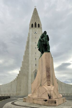 church Hallgrimskirkja and statue of Leif Erikson, Reykjavik, Iceland