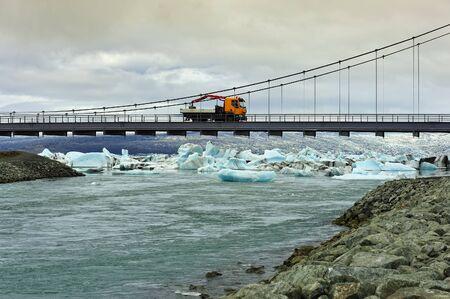 a bridge near the Ice Lagoon Jokulsarlon, Iceland Stock Photo - 13884319