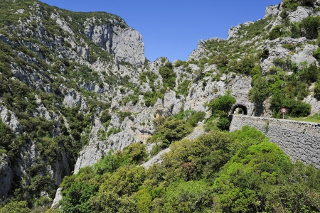 road in the canyon Gorges of Galamus, Languedoc-Roussillon, France  免版税图像