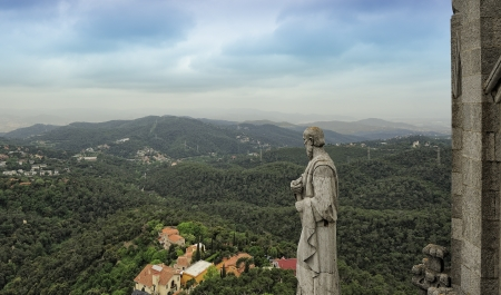 glum: view of Barcelona from the Expiatory Church of the Sacred Heart of Jesus Stock Photo