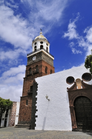 guadalupe island: tower of the church of Nuestra Senora de Guadalupe, Teguise, Lanzarote Island, Canary Islands, Spain Stock Photo