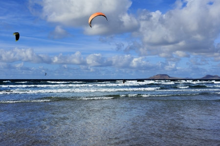 at Famara beach, Lanzarote, Canary Islands, Spain