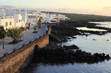 waterfront of  Punta Mujeres village, Lanzarote Island, Canary Islands, Spain 免版税图像