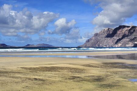 coast of  Famara beach, Lanzarote, Canary Islands, Spain photo