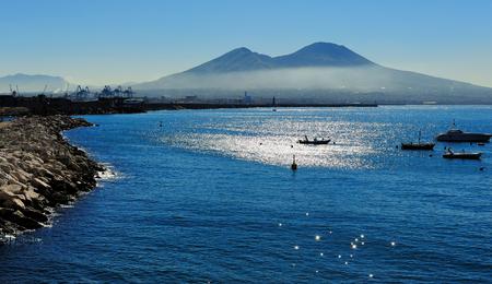 skyline of golf of Naples and Vesuvius, Italy
