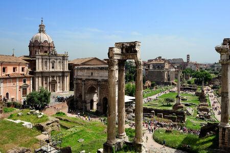 severus:  Temple of Vespasian and Titus, Arch of Septimius Severus and La basilica Porcia  at the Roman Forum, Rome, Italy Stock Photo