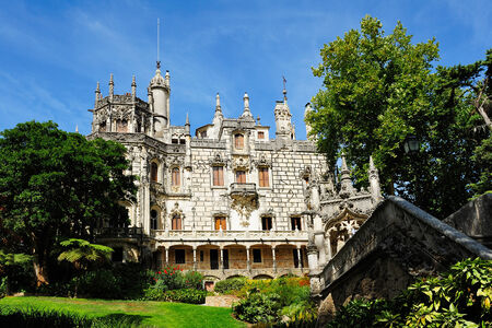 quinta: Sintra, Portugal - facade of  the Main House, Quinta da Regaleira