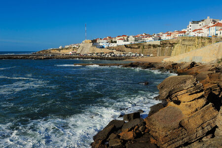 View of the Ericeira harbor on the coast of Portugal