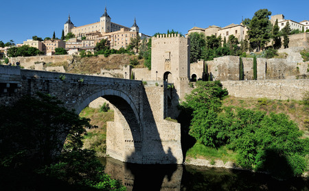 alcazar: view of the Alcantara bridge and the Alcazar, Toledo, Spain