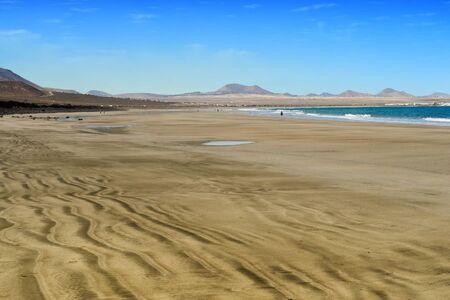 volcano: coast of  Famara beach, Lanzarote Island, Canary Islands, Spain Stock Photo