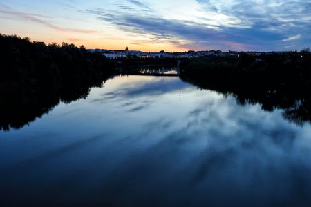 miraflores: morning view of Guadalquivir River and Puente de Miraflores, Cordoba,Spain