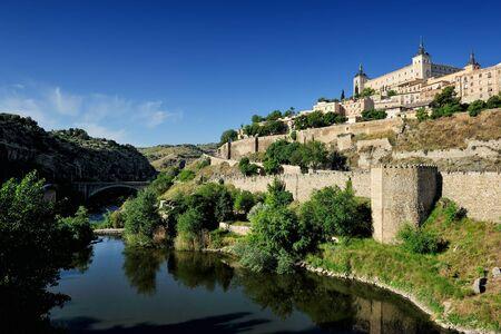 alcazar: view of Tajo river and the Alcazar, Toledo, Spain