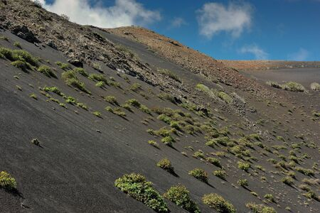 volcanism: wild volcanic landscape at Timanfaya National Park, Lanzarote Island, Canary Islands, Spain