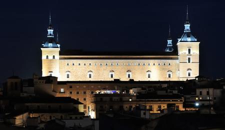 alcazar: night view of Alcazar and old part of Toledo, Spain