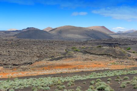 volcanism: wild volcanic landscape at  Lanzarote Island, Canary Islands, Spain