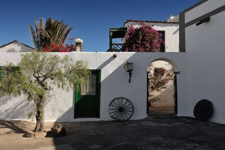 existence: Tiagua, Lanzarote Island, Canary Islands, Spain - the Agricultural Museum (Museo Agricola El Patio) dates back to 1840 and is the oldest and largest farm in existence on the island. Stock Photo