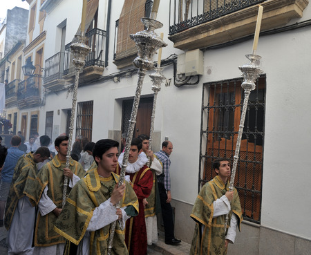 cordoba: Cordoba, Spain - religious procession. Stock Photo