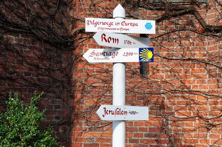 camino: HAMBURG, Germany - 17 MARCH 2015: Sign of pilgrimage of Santiago de Compostela Camino de Santiago, Hamburg, Germany