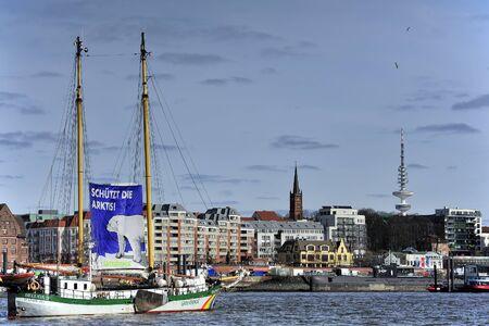 greenpeace: HAMBURG, GERMANY - MARCH 22, 2015: Sailing ship Beluga II Greenpeace on Elbe river. Editorial