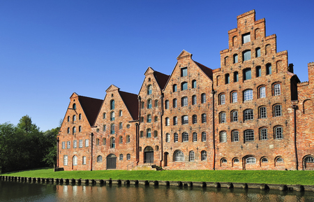 The Salzspeicher salt storehouses, historic brick buildings, built in the 16th-18th century, Lubeck, Germany.