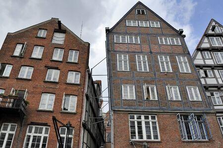 altstadt: historic timber-framed houses at Nikolaifleet, Altstadt district, Hamburg, Germany Stock Photo
