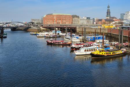 17 march: HAMBURG, GERMANY - 17 MARCH 2015: Binnenhafen Inner Harbor with boats