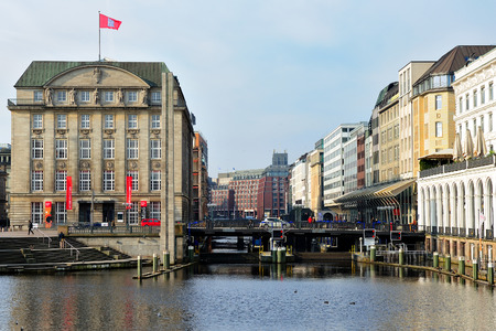 rathaus: the bridge Schleusenbrucke near Rathaus, Hamburg, Germany
