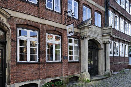 johannes: HAMBURG, GERMANY - 21 AUGUST 2015: Johannes Brahms Museum on Peterstrasse, Neustadt district.  Johannes Brahms was a German composer and pianist. Born in Hamburg. Editorial