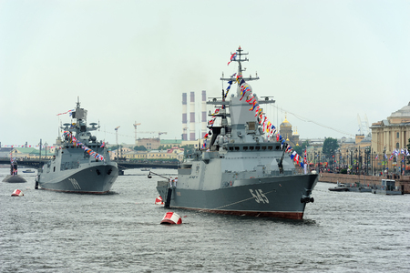Saint Petersburg, RUSSIA - July 30, 2017:  corvette Stoykiy and frigate Admiral Makarov during a naval parade for  Navy Day celebration Editorial