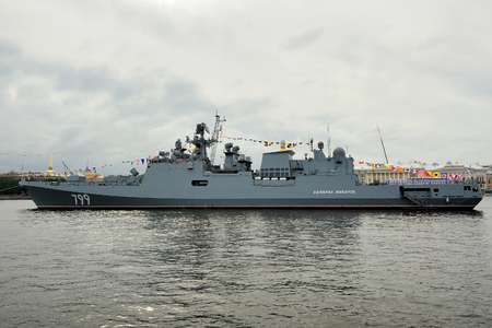 Saint Petersburg, RUSSIA - July 30, 2017: frigate Admiral Makarov during a naval parade for  Navy Day celebration Editorial