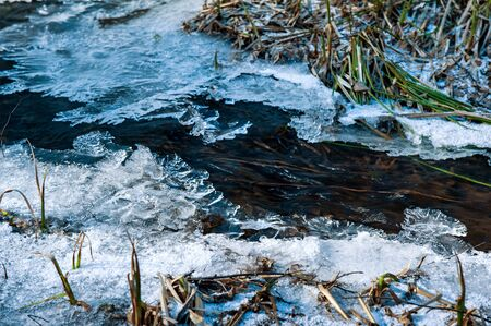 stream covered with figured ice in spring with blue shadows Фото со стока