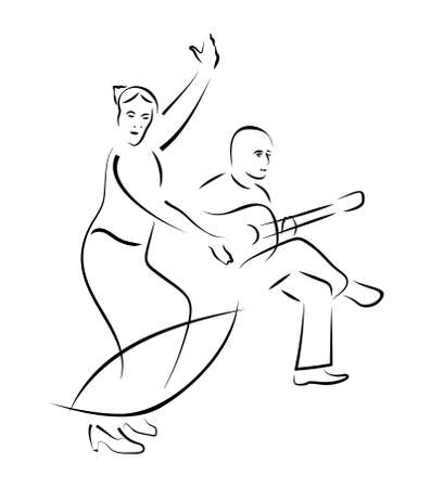 flamenco dancer and guitarist - caligraphy style vector sketch